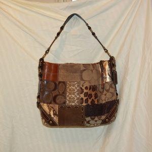 COACH 11496 Patchwork Purse Bag Browns